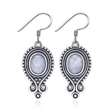 Load image into Gallery viewer, Sterling Silver Vintage Moonstone Drop Earrings