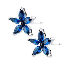 Load image into Gallery viewer, Sterling Silver Earrings Blue Sapphire Crystal