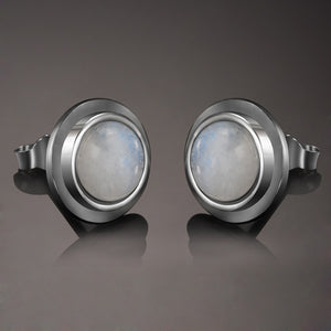 Sterling SilverJewelry Moonstone Stud Earrings