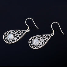 Load image into Gallery viewer, Sterling Silver Drop Earrings Round Natural Moonstone