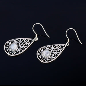 Sterling Silver Drop Earrings Round Natural Moonstone