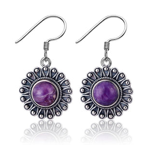 Sterling Silver Natural Purple Charoite Round Earrings