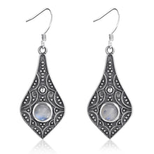 Load image into Gallery viewer, Sterling Silver Earrings Natural Moonstone Bohemian Style