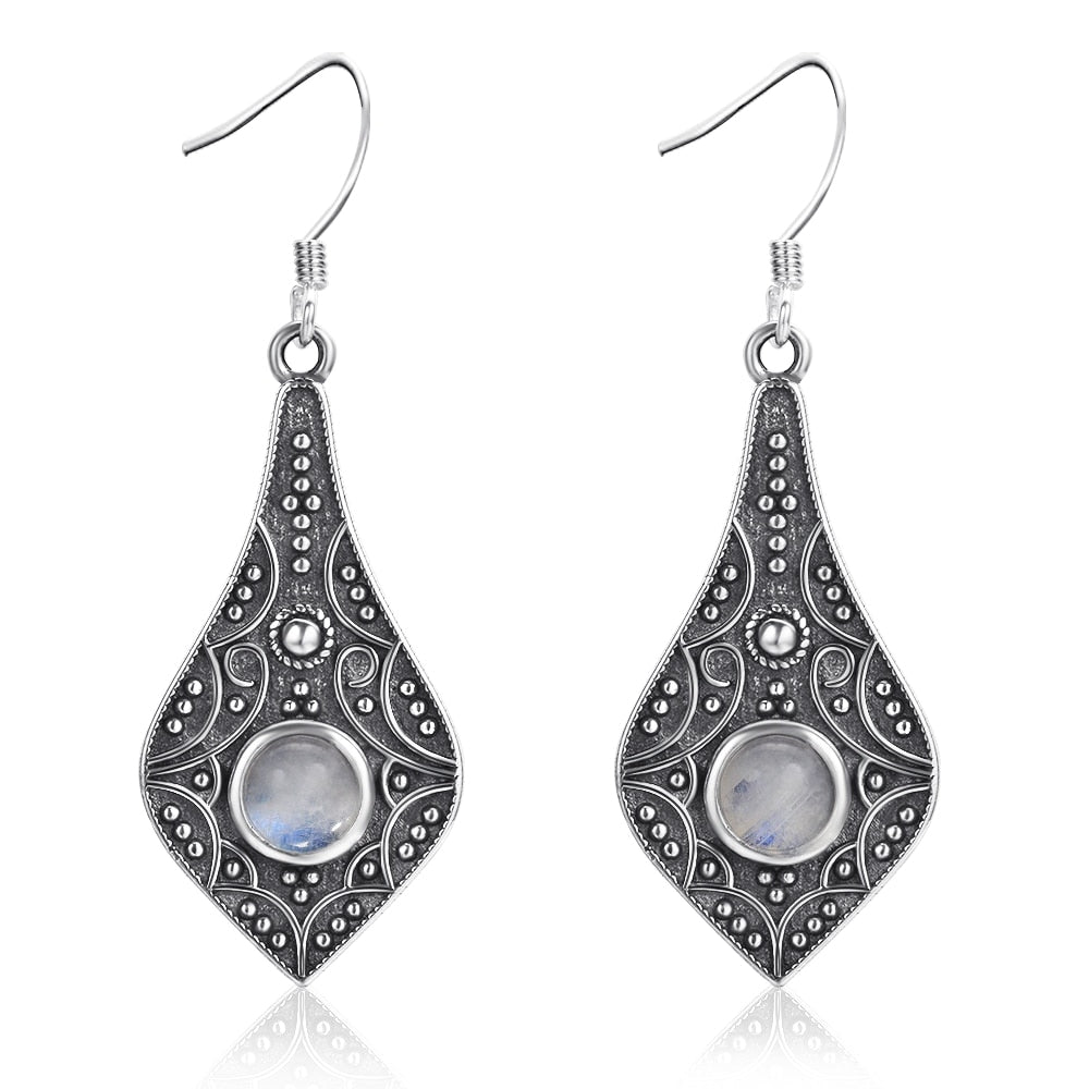 Sterling Silver Earrings Natural Moonstone Bohemian Style