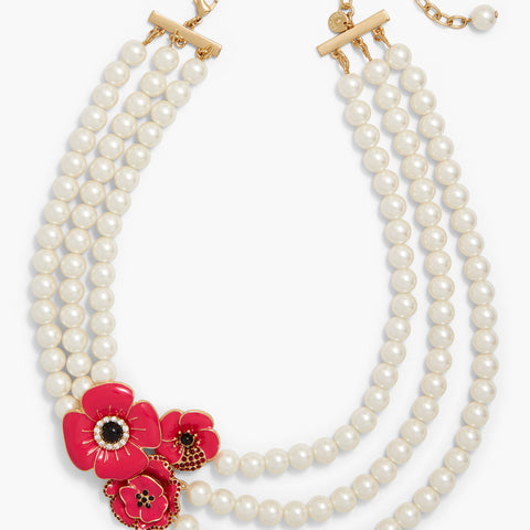 Red Poppy Pearl Necklace Remembrance Day Christmas Gifts