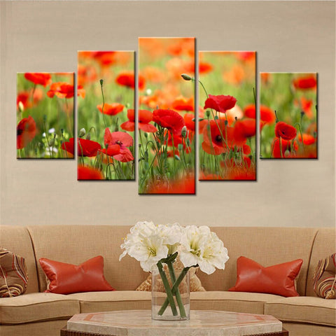 Red Poppy Flower Canvas LEST WE FORGET Australian And New Zealand