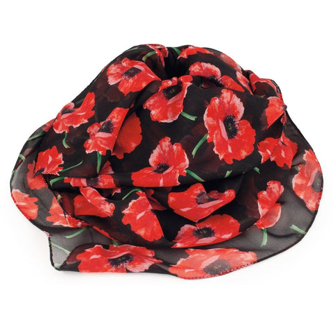 Forever Poppy Red Black Multi Coloured Pure Silk Scarf