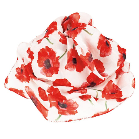 Poppy Red and White Silk Scarf