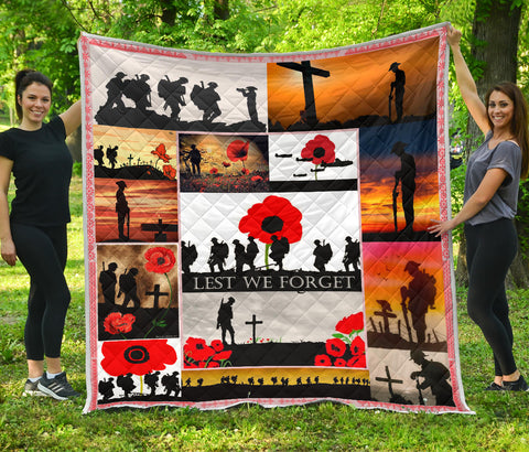 Flags Poppy Soldier Premium Quilt Remembrance Day