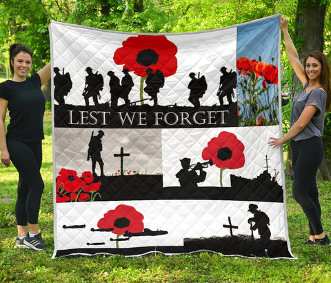 Lest We Forget All Flags Premium Quilt White Red