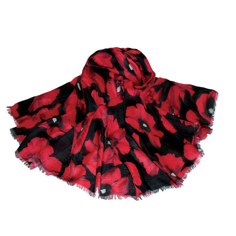 Moda Poppy Print Black and Red Large Scarf