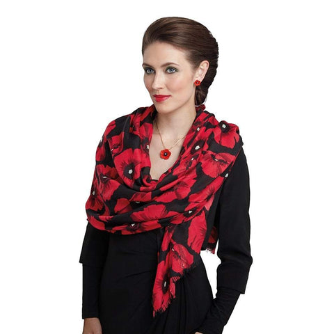 Moda Poppy Black and Red Scarf Lest We Forget