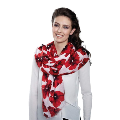 Red Poppy Large Oblong Scarf for Remembrance Day Lest We Forget