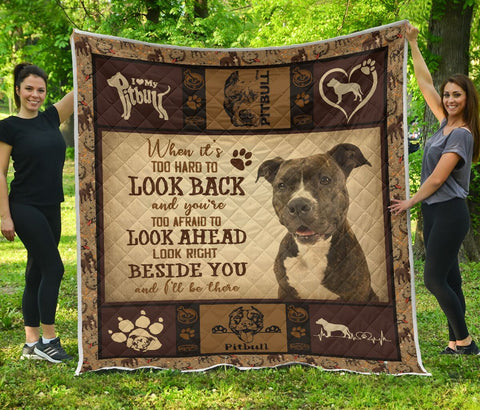 QUILT - DOGS - AMERICAN PIT BULL TERRIER BESIDE YOU