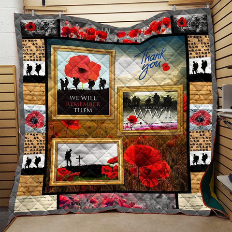 World War II Veterans Poppy Soldier Premium Quilt