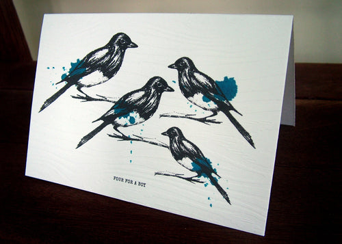 Magpie 4 for a Boy Handmade Card