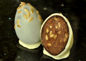 White & Milk Chocolate Orange & Linseed Egg Truffle