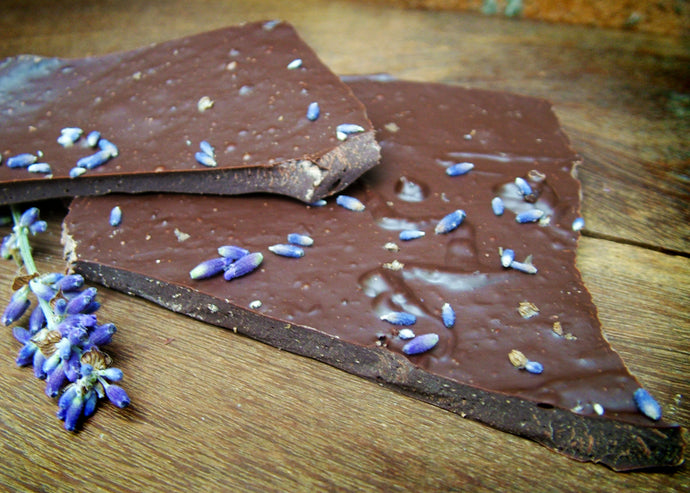 Dark Vegan Chocolate Lavender Shards