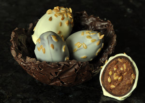 Chocolate Nest with Orange & Linseed Egg Truffles