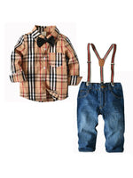 Beige Check and Jeans Set