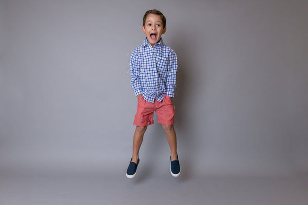 Turn up Shorts  - Red Chambray