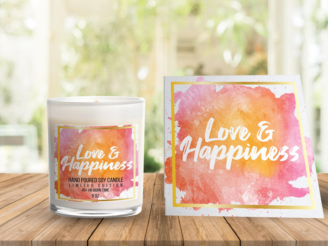Love & Happiness card + candle