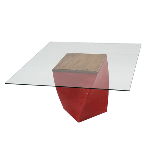 Parable Coffee Table Wood Top Square Glass
