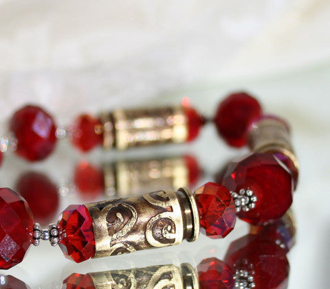 Red Crystal Bullet Brass Bracelet