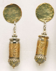Earrings of recycled brass Luger 9mm etched bullet casings