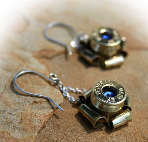 Crystal 40 Caliber Bullet Earrings - Brass