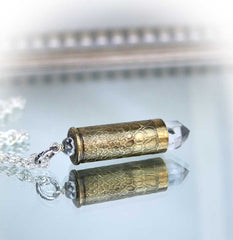 Etched Bullet Quartz Crystal Necklace