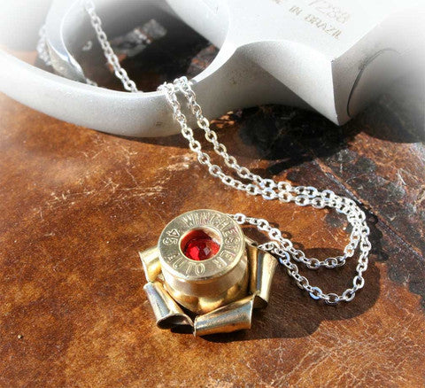 Bullet Rosette Necklace with Crystal