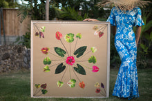 Load image into Gallery viewer, Woman in a Hawaiian mumu holding a large 4ftx4ft print called Tutu's Quilt inspired by the Hawaiian quilt