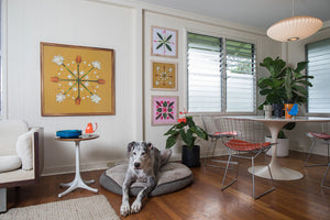 Beautiful fine art makes the white walls on this home stand out alongside the great dane Kingston.