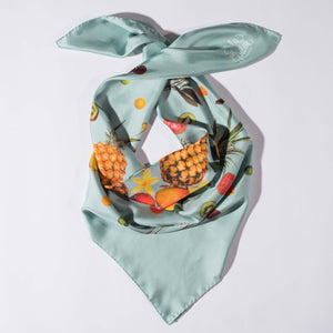 Pink or Silver Blue Silk Twill Scarf - Chinatown Fruit Salad