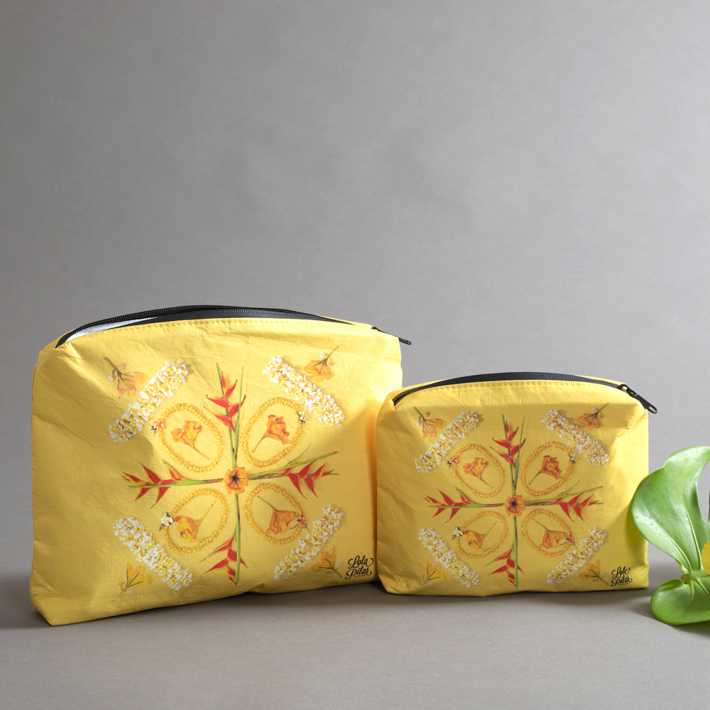 tyvek pouch, pouch, tropical pouch, bag, mask pouch, bag for pouch, zipper pouch, yellow makeup bag