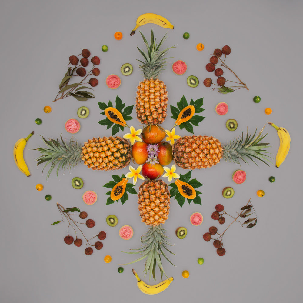 tropical fruit salad using fruits found in chinatown hawaii pineapple artwork artist in hawaii