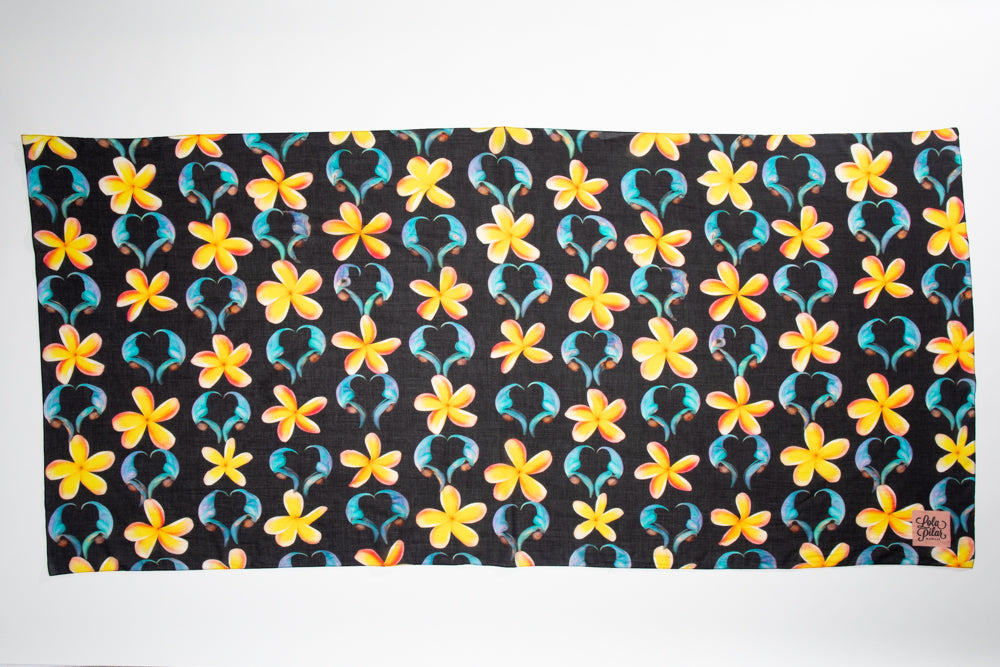 black sarong pareo with blue jade and yellow plumeria 100% cotton designed in hawaii made in italy