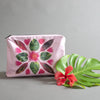 pink pouch, makeup pouch, tyvek hawaii pouch design, hawaii design bag, hawaiian quilt bag, quilt pouch