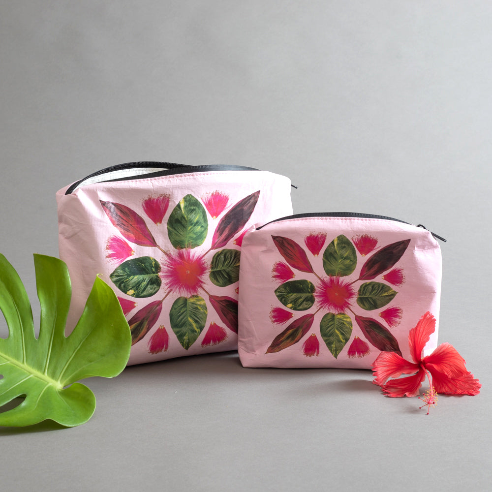 pink zipper pouch, bombax, ivy, flower bag, tropical pouch, flower bag design, designed in hawaii, tyvek bag, dupont tyvek material,