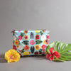 designed in hawaii, zipper pouch, water resistant bikini bag, tropical flower bag, pouch bag