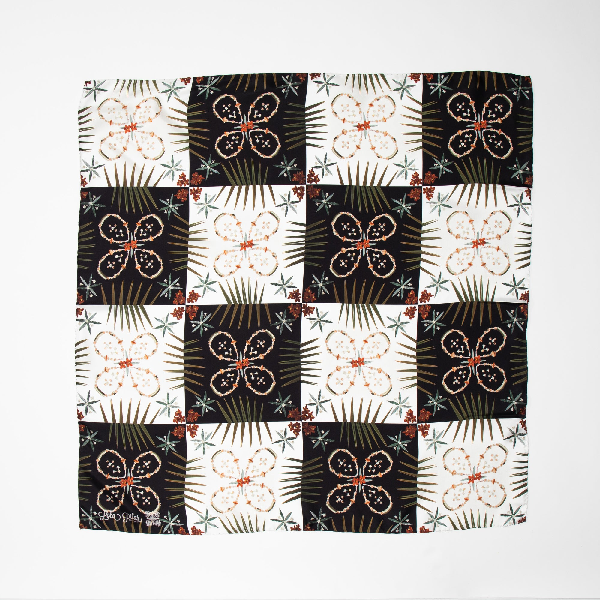 black and white check patterned silk scarf with flower details
