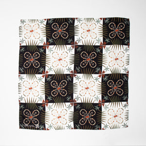 Fronds of Mine Silk Scarf - B&W or Coral & Green Check