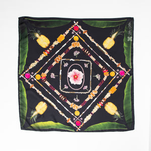Live A Lei Life Silk Scarf - Black or Army Green