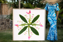 Load image into Gallery viewer, Woman in a hawaiian mumu holding a large 4ftx4ft musa ornata banana plan photographic art inspired by the hawaiian quilt