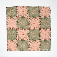 Load image into Gallery viewer, Fronds of Mine Silk Scarf - B&W or Coral & Green Check