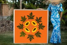 Load image into Gallery viewer, Woman in a hawaiian mumu holding a large 4ftx4ft orange print called Papaya Sunrise inspired by the Hawaiian quilt