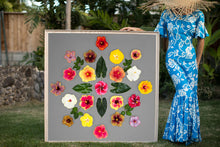 Load image into Gallery viewer, Woman in a Hawaiian mumu holding a large 4ftx4ft print called Rainbow Kiss, inspired by the Hawaiian quilt