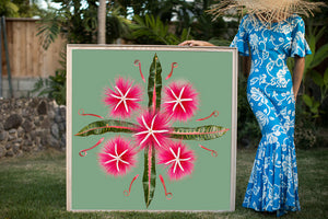 Woman in a Hawaiian mumu holding a large 4ftx4ft print called Pink Limu art inspired by the Hawaiian quilt