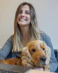 Happy office dog with owner